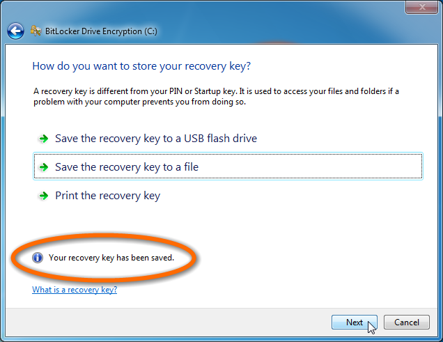 enable bitlocker  automatically save keys to active