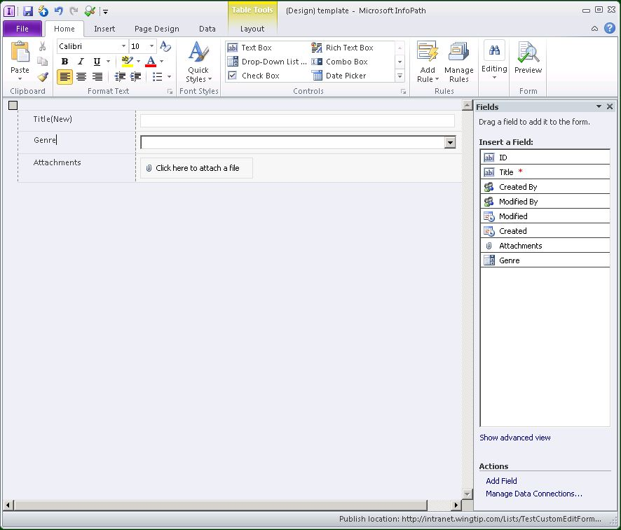 Creating Custom Edit Forms With InfoPath In SharePoint 2010