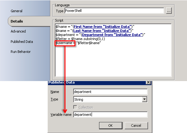 Publishing Data from a  Net Script Activity in Orchestrator