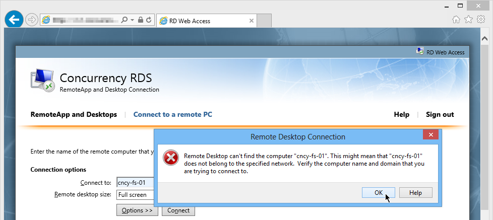 Remote Desktop can't find the Computer through RDWeb and Gateway