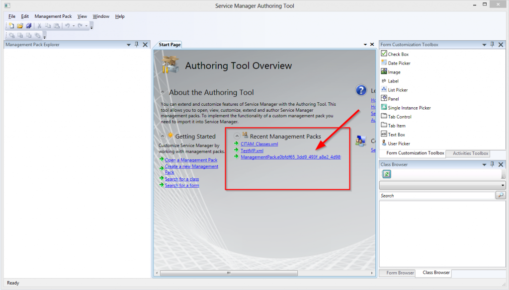 Service Manager SCSM Authoring Tool Recent Management Packs List Image