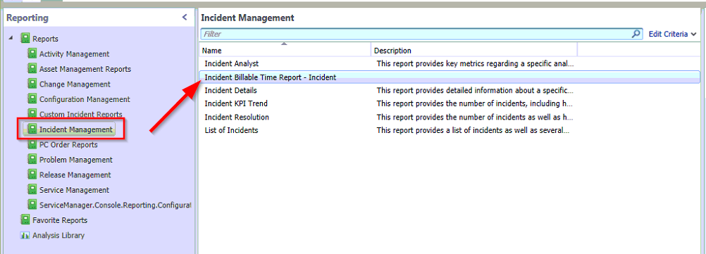 SSRS Incident Billable Time Report Reporting tab image