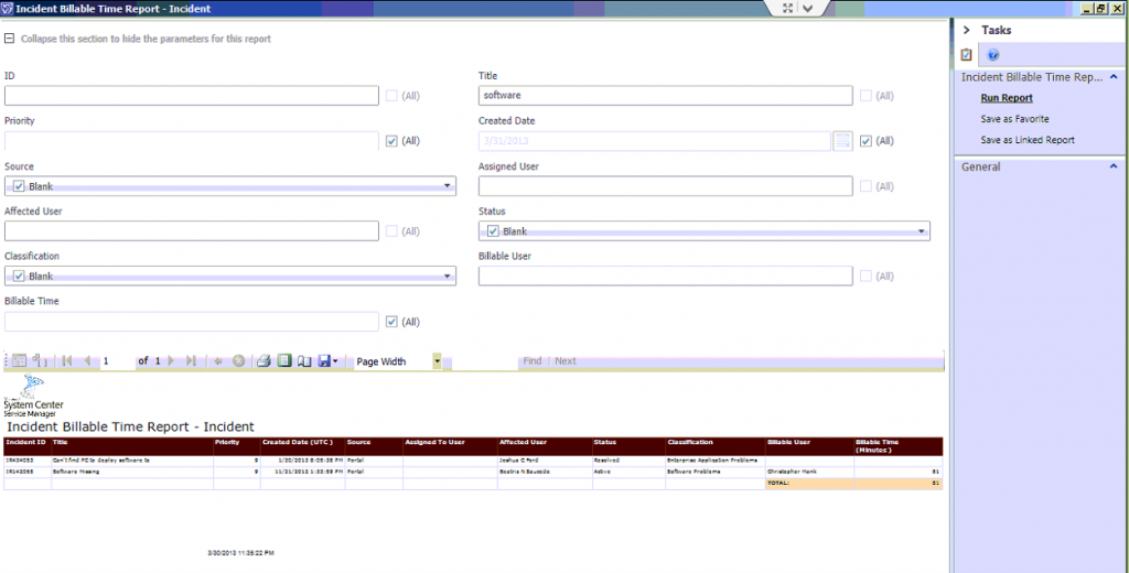 SSRS Incident Billable Time Report SCSM Console image