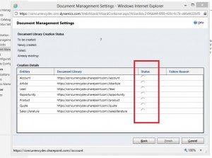 SharePoint Document Library Creation Status - Dynamics CRM 2011