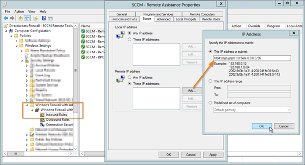 Firewall Exceptions to allow SCCM Remote Control for DirectAccess
