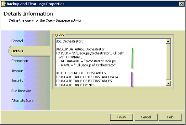 Clear Orchestrator Logs SQL Script Activity Image