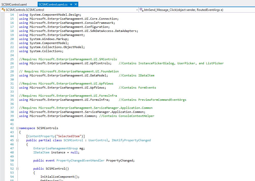 Custom SCSM Control C-Sharp Code-Behind Image