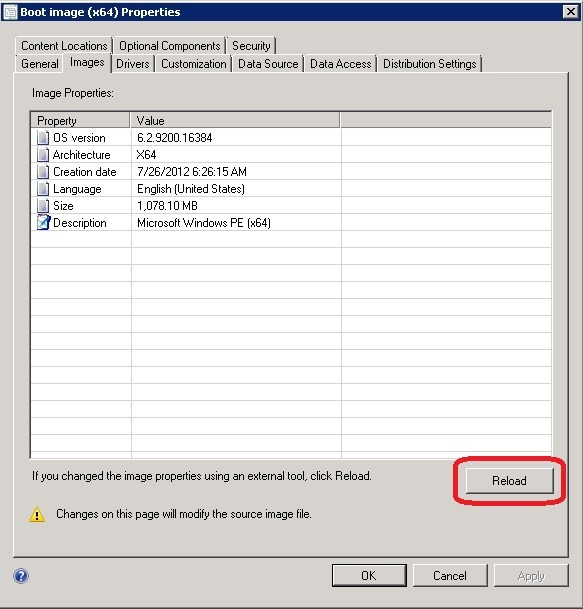 Can't Add Drivers to SCCM 2012 Boot Image - Concurrency