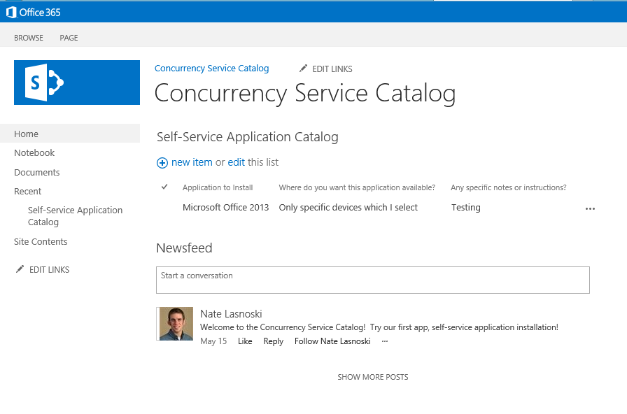 1. SharePoint Page