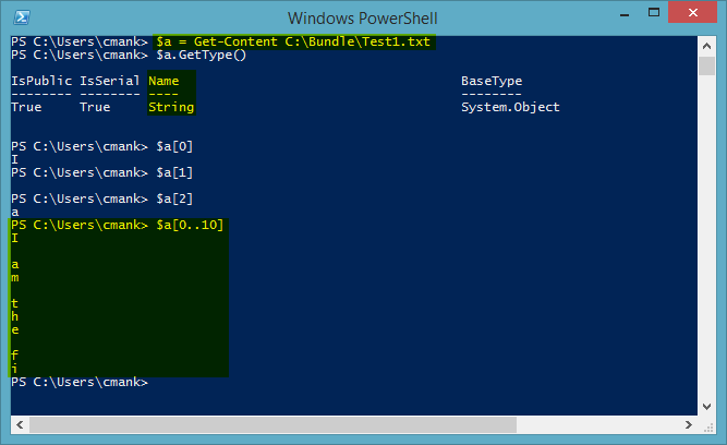 PowerShell Get-Content Example One Line Image