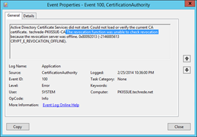 Active Directory Certificate Services did not start: Could not load or verify the current CA certificate.  techrede-PKIISSUE-CA The revocation function was unable to check revocation because the revocation server was offline. 0x80092013 (-2146885613 CRYPT_E_REVOCATION_OFFLINE).