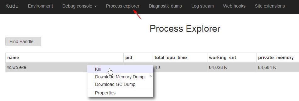 Azure KUDU UI Process Explorer