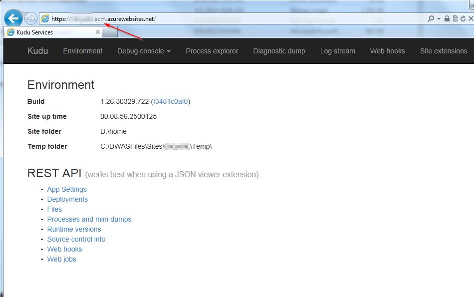 Azure KUDU UI Splash Page