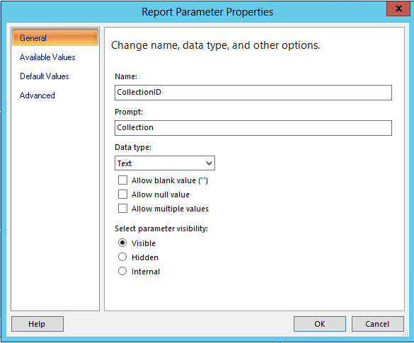 Adding a Collection Parameter to a Default SCCM 2012 Report