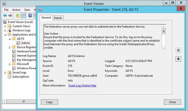 Web Application Proxy fails with Error Code 0x8007520C
