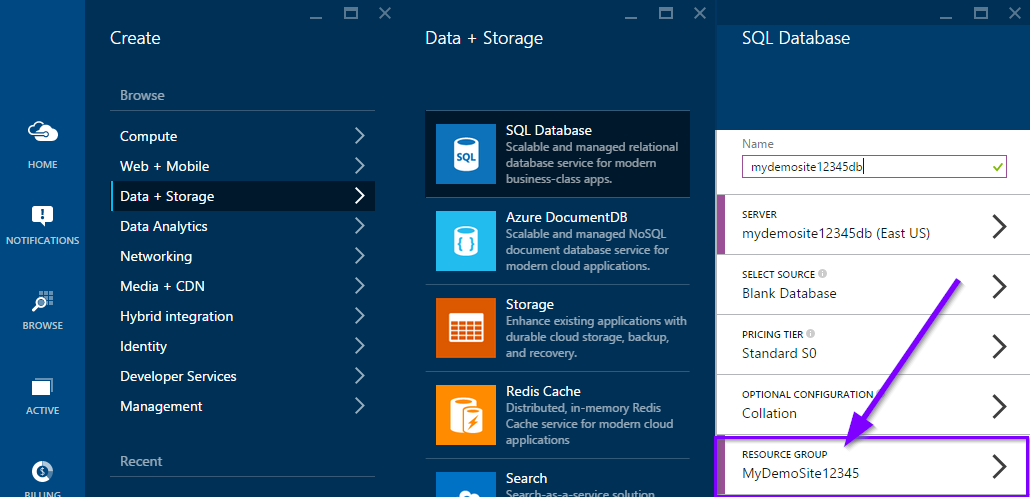 Create Azure Database from Azure Portal