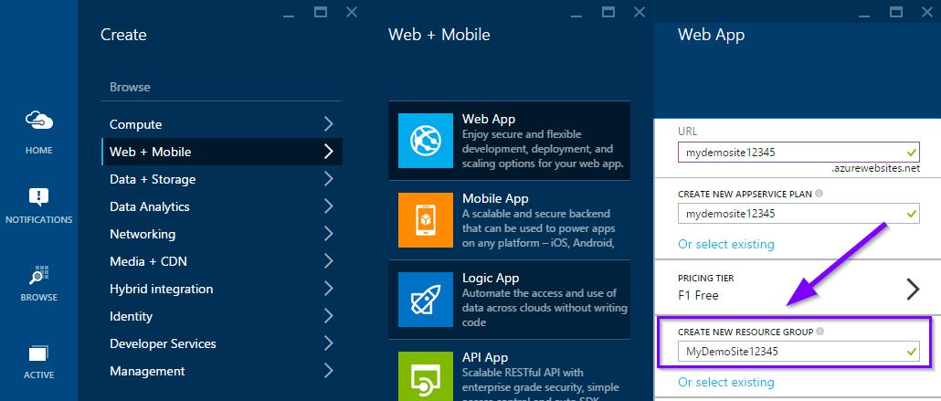 Create Azure Website from Azure Portal