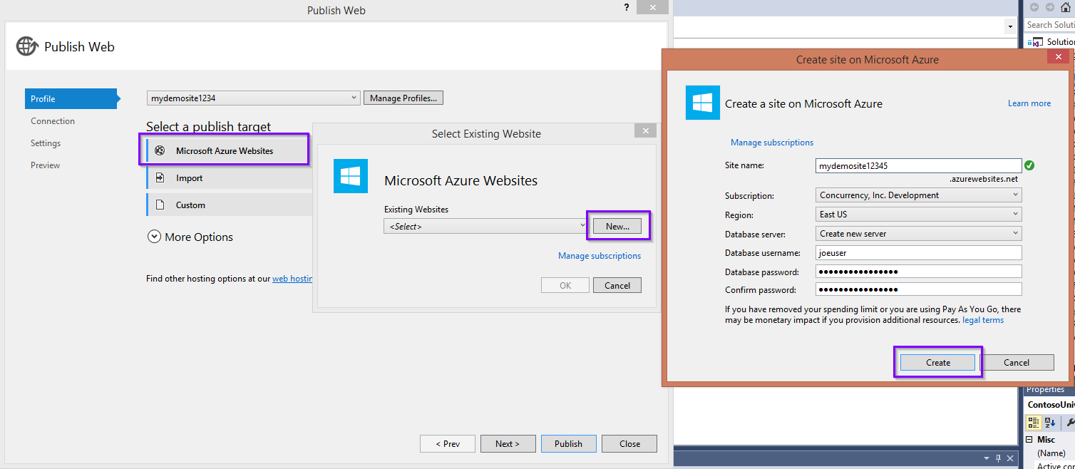 Create Azure Website from Visual Studio