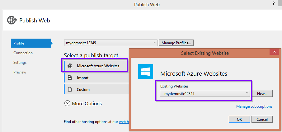 Publish Website to Existing Azure Site in Visual Studio