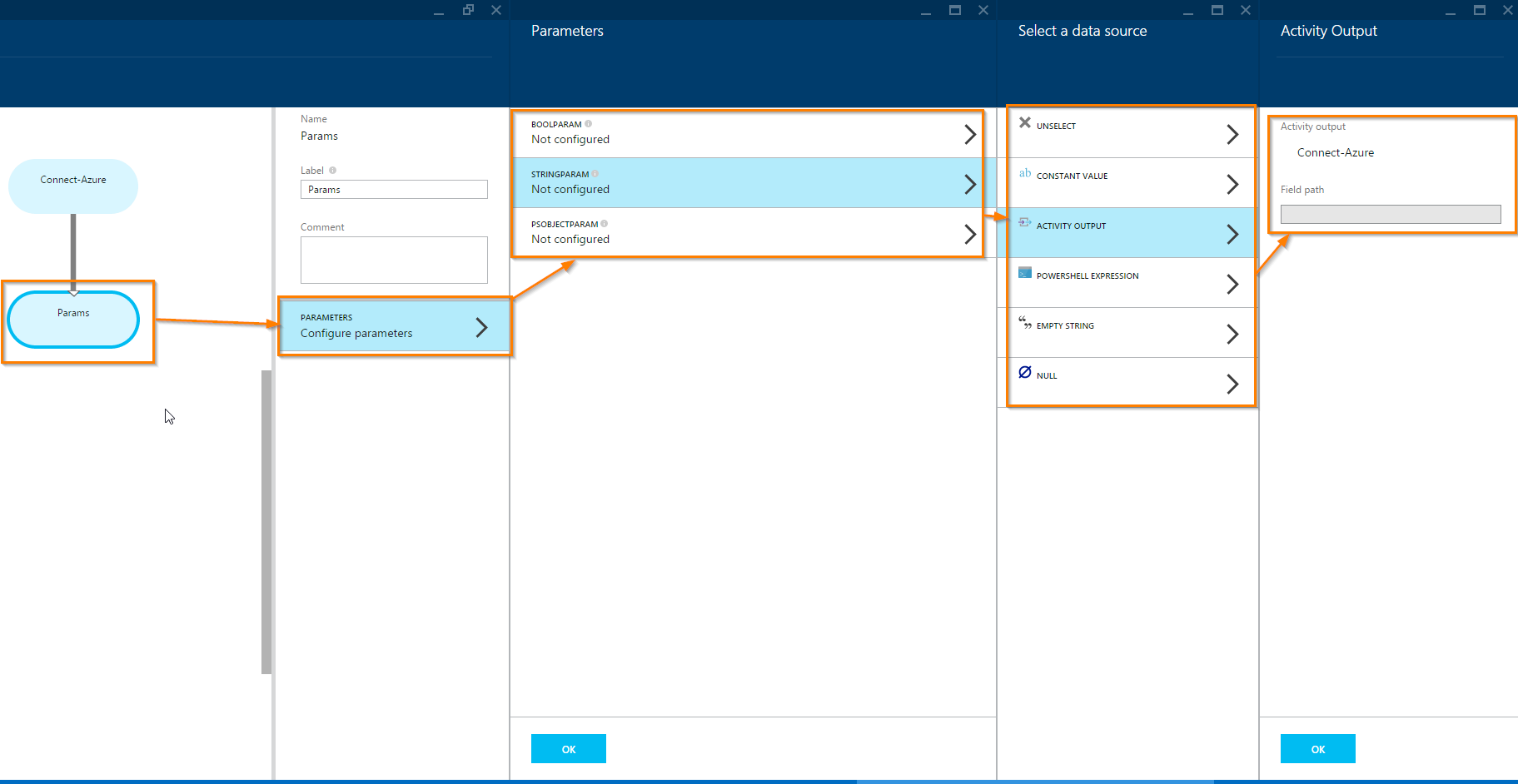 Using Parameters and Outputs in Azure Automation Graphical Runbooks